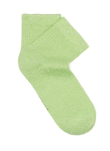 Mavi Simli Yeşil Soket Çorap Yeşil
